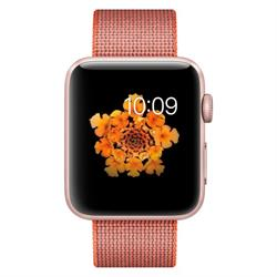 APPLE WATCH (SERIES 2) 42MM ROSE GOLD ALUMINUM CASE WITH ORANGE WOVEN NYLON BAND